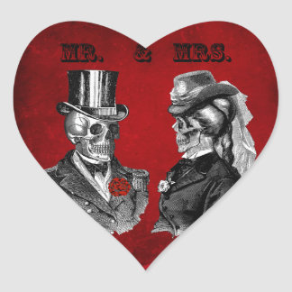 Boda y fiesta de aniversario del cráneo del Grunge Pegatina En Forma De Corazón