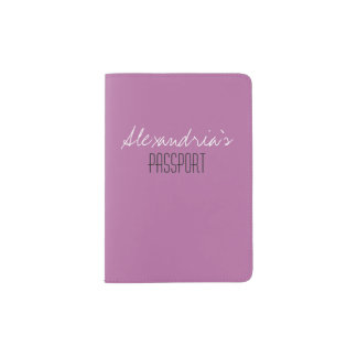 Bodacious Lilac Pink Girly Solid Color Custom Passport Holder
