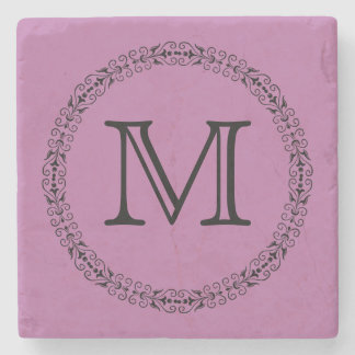 Bodacious Lilac Pink Girly Solid Color Monogram Stone Coaster