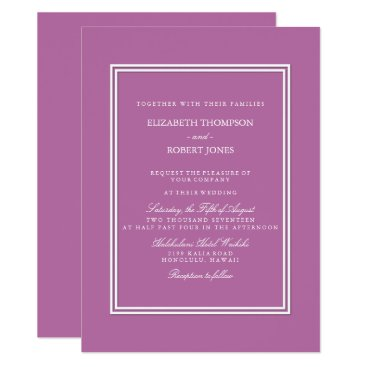 Beach Themed Bodacious Orchid Lilac with White Wedding Detail Card