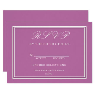 Bodacious Orchid Lilac with White Wedding Detail Card