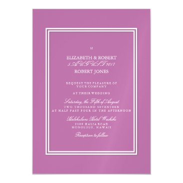 Beach Themed Bodacious Orchid Lilac with White Wedding Detail Magnetic Card