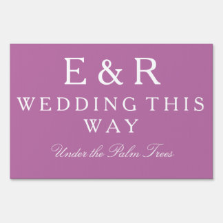 Bodacious Orchid Lilac with White Wedding Detail Sign