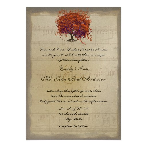 """Bodas anaranjados del árbol de la hoja del corazón invitación 5"""" x 7"""""""