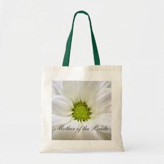 bodas de la flor de la margarita blanca bolsa tela barata