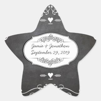Bodas de la tipografía de la pizarra pegatina en forma de estrella