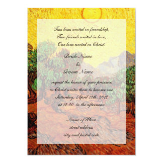 """bodas de las religiones, olivos de Vincent van Invitación 5.5"""" X 7.5"""""""