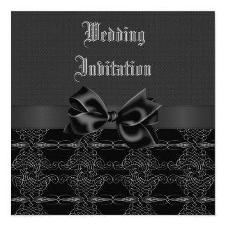 """Bodas de plata negra del vintage elegante y gótica invitación 5.25"""" x 5.25"""""""