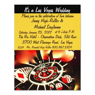 """Bodas del tema del casino de Viva Las Vegas Invitación 4.25"""" X 5.5"""""""