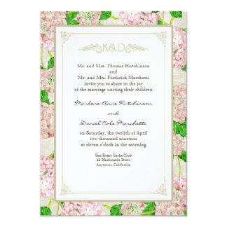 """Bodas elegantes formales florales del cordón azul invitación 5"""" x 7"""""""