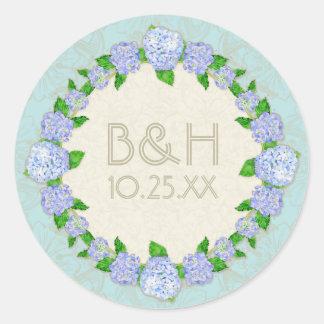 Bodas elegantes formales florales del cordón azul pegatina redonda