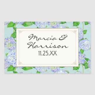 Bodas elegantes formales florales del cordón azul pegatina rectangular