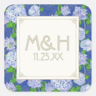 Bodas elegantes formales florales del cordón azul pegatina cuadrada
