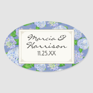 Bodas elegantes formales florales del cordón azul pegatina ovalada