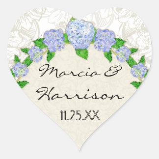 Bodas elegantes formales florales del cordón azul pegatina en forma de corazón