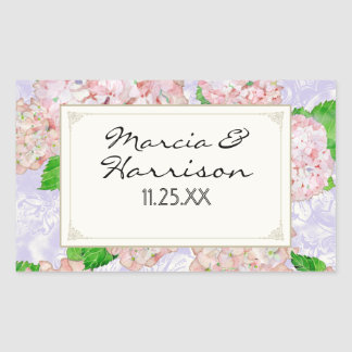 Bodas elegantes formales florales del cordón pegatina rectangular