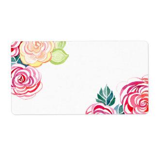 Bodas florales de la flor del arte moderno de los  etiqueta de envío