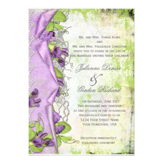 Bodas florales de los guisantes de olor púrpuras d anuncios personalizados