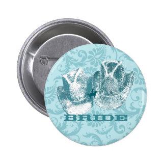 Bodas occidentales del vintage del Aquamarine Pin Redondo De 2 Pulgadas
