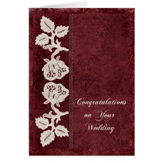 Bodas y cordón viejo tarjeta de felicitación