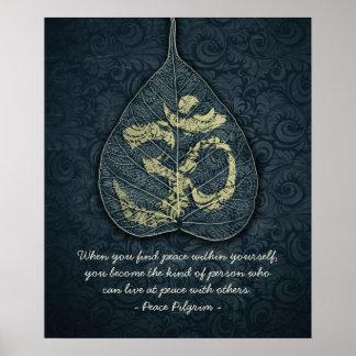 Bodhi Leaf & Gold OM Symbol Yoga Meditation Quotes Poster