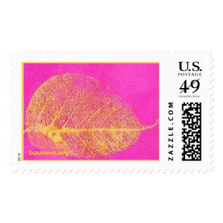 Bodhi leaf on a Bright Violet Field Postage Stamps