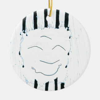 Bodhisattva from the rain Double-Sided ceramic round christmas ornament