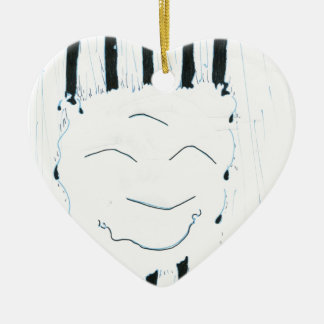 Bodhisattva from the rain Double-Sided heart ceramic christmas ornament