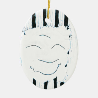 Bodhisattva from the rain Double-Sided oval ceramic christmas ornament