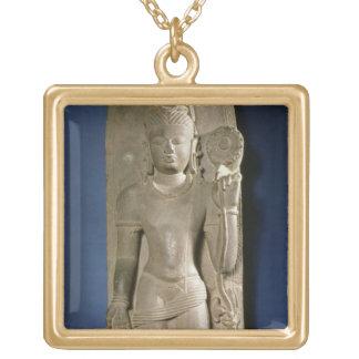 Bodhisattva Padmapani, Nalanda, Bihar, Pala dynast Square Pendant Necklace
