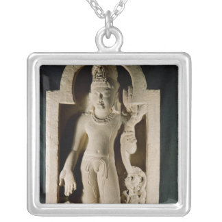 Bodhisattva Padmapani, Sarnath Silver Plated Necklace