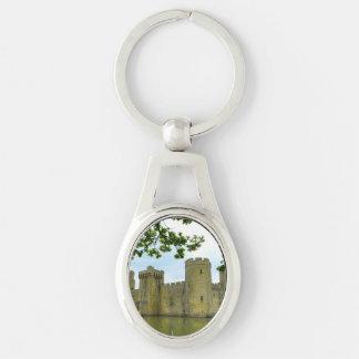 Bodiam Castle Silver-Colored Oval Metal Keychain