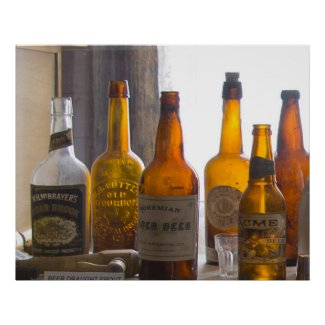 Bodie Antique Bottles Poster