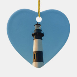 Bodie Island Light. Double-Sided Heart Ceramic Christmas Ornament