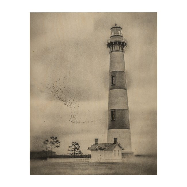 "Bodie Island Lighthouse 11""x14"" Wood Wall Art"