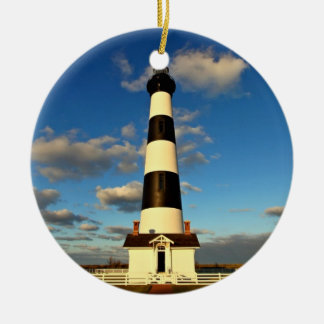 Bodie Island Lighthouse Double-Sided Ceramic Round Christmas Ornament