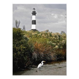 Bodie Island Lighthouse With Egret Photo Art