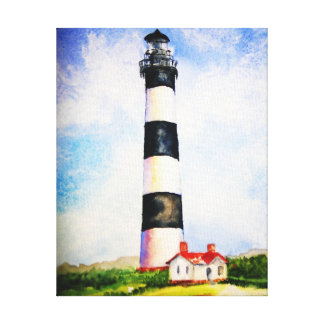 Bodie Lighthouse  watercolor by Mary Dunham Walter Gallery Wrapped Canvas