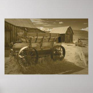 Bodie Mining Cart Sepia Poster print