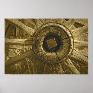 Bodie Wagon Wheel Sepia Poster 1 print