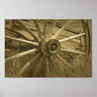 Bodie Wagon Wheel Sepia Poster 2