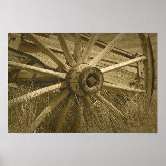 Bodie Wagon Wheel Sepia Poster 2 print