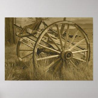 Bodie Wagon Wheel Sepia Poster 3 print