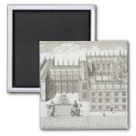 Bodleian Library, Oxford, from 'Oxonia Illustrata' 2 Inch Square Magnet