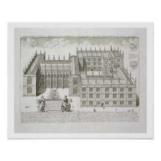 Bodleian Library, Oxford, from 'Oxonia Illustrata' Poster