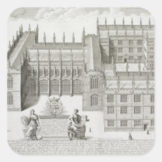 Bodleian Library, Oxford, from 'Oxonia Illustrata' Square Sticker