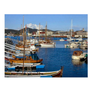 Bodo, harbour with tradition boats postcard