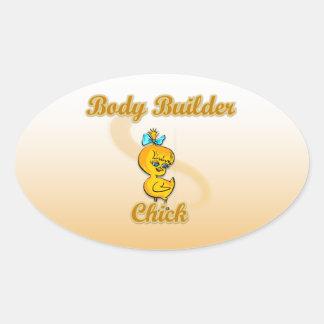 Body Builder Chick Oval Sticker