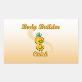 Body Builder Chick Rectangular Sticker