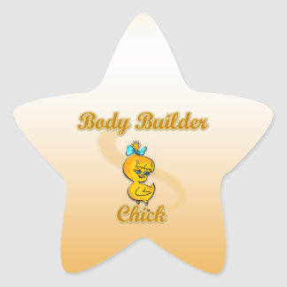 Body Builder Chick Star Sticker